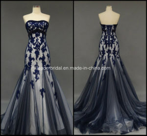 Strapless Ladies Party Gowns Mermaid Applique Evening Prom Dresses Z4030 pictures & photos