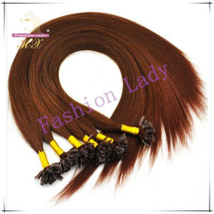 Hair Extension Weft with U-Tip Style Human Brown Hair Extension (HX-EX-06)