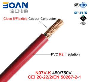 N07V-K, 450/750 V, Class 5 Cu/PVC Cable (CEI 20/22-2/EN 50267-2-1) pictures & photos