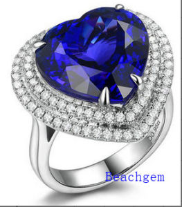 Jewellery-925 Silver Tanzanite Cubic Zirconia Engagement Ring (R90925)