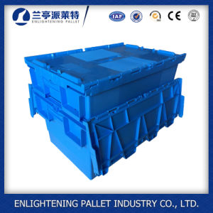 Blue Hinged Plastic Moving Box Tote Bin for Sale pictures & photos