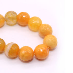 Natural Gemstone Loose Strand 6 8 10 12mm Round Shape Faceted Orange Agate Marble pictures & photos