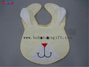 "13""Wholesale Baby Items Plush Embroidery Beige Rabbit Baby Bibs pictures & photos"