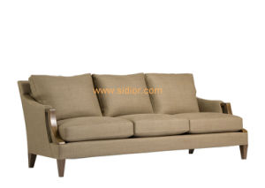 (CL-6617) Classic Restaurant Living Room Sofa Wooden Fabric Hotel Couch pictures & photos