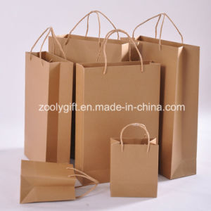 Wholesale Cheap Recycle Durable Kraft Card Paper Bags with Twisted Handle pictures & photos