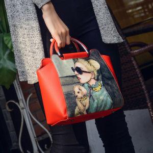 PU Handbag with Women Photo Printing