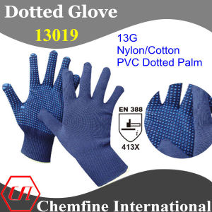 13G Blue Nylon/Cotton Knitted Glove with Blue PVC Dots/ En388: 413X pictures & photos