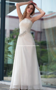 White Formal Party Bridesmaid Evening Dress