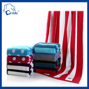 100% Cotton Yarn Reactive Printed Red Strip Beach Towel