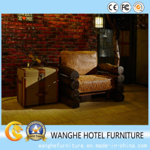 Hotel Furniture Solid Wood Frame Leather Cafe Chair Furniture Set pictures & photos