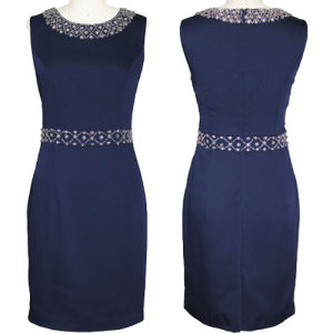 Elegant Sleeveless Navy Blue Beaded Dress (1-259-870)