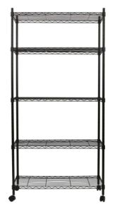 "Black Epoxy Coated 5 Tiers Home Storage Metal Wire Shelf Shelving Cart with 1.5"" Nylon Casters pictures & photos"