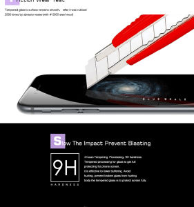 New 9h Hardness Anti Scratch Anti-Bacterial Anti Blue Light Smart Phone HD Tempered Glass Screen Protector for iPhone 6/6s/Plus