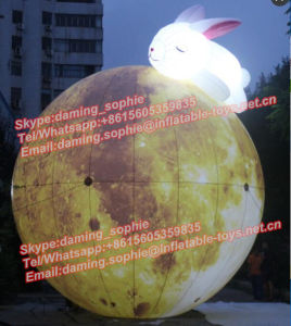 Lighting Inflatable Moon Balloon with Slepping Rabbit
