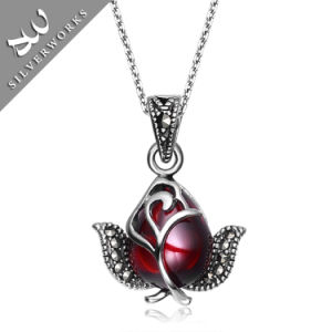 925 Sterling Silver Angle Pendant with Red Diamand Pendant