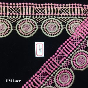 8.5cm Big Pink Ggeometry Circle Pattern Trimming Lace Fabric for Textile Accessories Hme871 pictures & photos