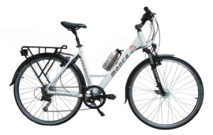 Monca Popular City Ebike Electric Bicycle with 33V/9ah Bottle Shape Lithium Battery for Long Distance pictures & photos