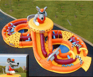 Obstacle Challenge Inflatable Slide with Cartoon Character pictures & photos