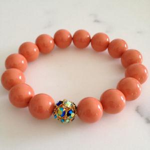 Fashion Jewelry Round Orange Sponge Charm Bracelet (XG-BE136)