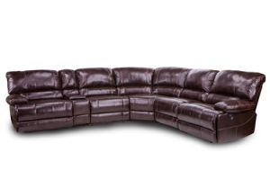 Tri-Tone Color Leather Recliner Corner Sofa with Storage Console pictures & photos