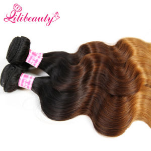 Three Toned Ombre Color Mongolian Body Wave Human Hair pictures & photos