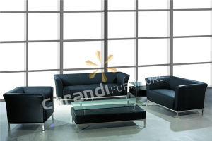 Commercial Black Leather Office Sofa (RD883)