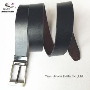 Man′s Black Reversible Split Leather Belt pictures & photos
