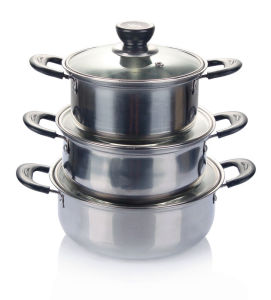 3PCS Stainless Steel Soup Pot with Glass Cover pictures & photos