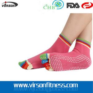 High Grip Full Toe Cotton Jacquard Socks for Yoga Pilates Exercise