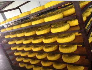 PU 350-8 Trolley Rubber PU Solid Barrow Wheels pictures & photos