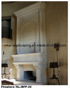 Stone Fireplace Big White Marble Carved Fireplace for Villa (YKBFP-20)