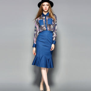 Floral Printed Pleated Women Dress with Pocket pictures & photos