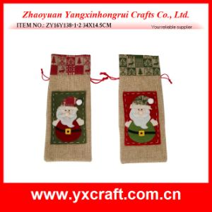 Christmas Decoration (ZY16Y138-1-2 34X14.5CM) Christmas Santa Claus Bag Wine Holder pictures & photos