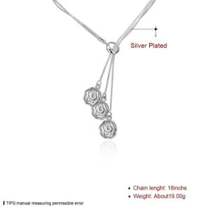 Foreign Three Rose Flower Shape Necklace Mutil Row Chain with Pendant Novel Design 2017 pictures & photos