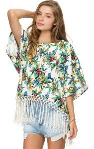 Loose Floral Printed Hem Tassel Batwing Sleeve Chiffon Blouse pictures & photos