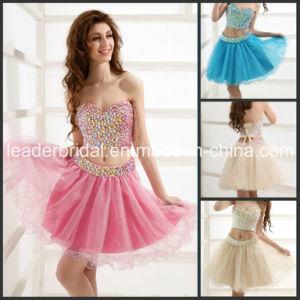 2 Pieces Cocktail Dress Short Evening Gown Crystal Vestios Party Dresses Ld1153 pictures & photos