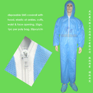 Waterproof Surgical/Medical/Hospital/Plastic/Polyethylene/Poly/PE/PP+PE/PP/SMS/Overall/Polypropylene Nonwoven Disposable Protective Gown, Disposable Coverall pictures & photos