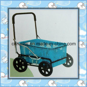 Plastic Tray Steel Frame Shopping Cart pictures & photos