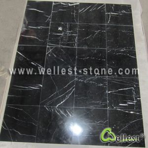 Natural Nero Marquina Black Marquina Marble Tiles for Floor/Flooring/Wall Cladding pictures & photos
