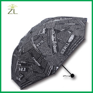 Anti-UV Foldable Women Printed Sun-Rain Gear Black Newsprint Competitive Price Logo Printed UV Resistant Mini Sun Umbrella pictures & photos