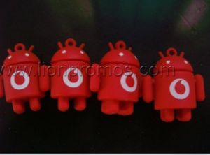 Vodafone Logo Embossed Custom Android Robot Shape Soft PVC Keychain pictures & photos