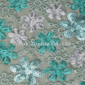 Sequin Embroidery with 3-Color Flower Design-Flk254
