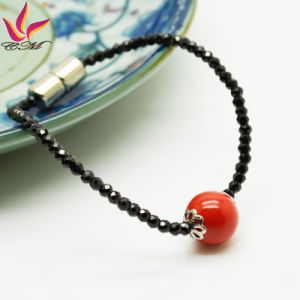 Spb-002 New Fashion Bracelet Black Super Flash Spinel Red Tourmaline Bracelet