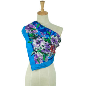 Flower Pattern Ladies Silk Printed Square Fashion Scarf