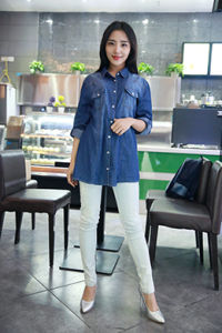 Long Sleeve Denim Shirt-Indigo