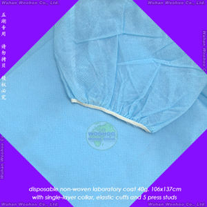 Disposable Medical Lab Coat with Knitted Cuffs or Elastic Wrists pictures & photos