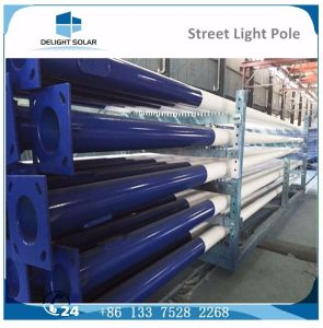 Single Arm Plastic Coated Grey/White Round Conical Galvanized Steel Pole pictures & photos