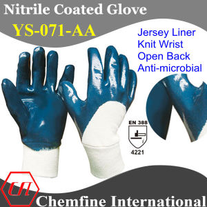 Jersey Glove with Anti-Microbial Blue Nitrile Coating & Open Back & Knit Wrist/ En388: 4221 (YS-071-AA) pictures & photos