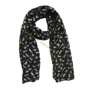 Lovely Cat Design Women Voile Scarf pictures & photos