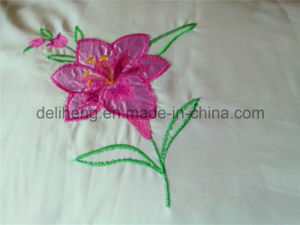 100% Microfiber Polyester 3PCS Bleached White Embroidered Bed Sheet Sets pictures & photos